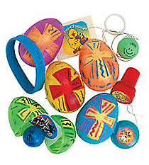 24 Religious Toy-Filled Bright Easter Eggs #36/1134