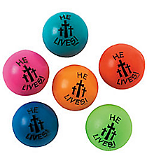 "48 Rubber ""He Lives!"" Bouncing Balls #36/1170"