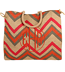 Pink, Orange, and Gray Chevron Everyday Jute Tote #36070