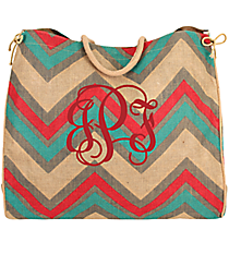 Hot Pink, Aqua, and Gray Chevron Oversize Jute Tote #36072
