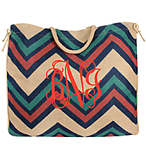 Navy, Teal, and Red Chevron Oversize Jute Tote #36073