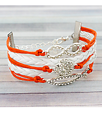 Multi-Strand Crystal Accented Christian Fish, Rose, and Infinity Bracelet #3633