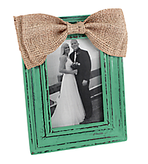 Distressed Turquoise Wooden 4X6 Photo Frame with Burlap Bow #36360