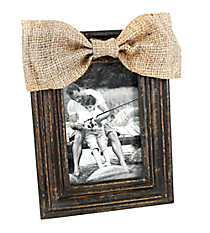 Distressed Black Wooden 4X6 Photo Frame with Burlap Bow #36362