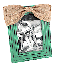 Distressed Turquoise Wooden 5X7 Photo Frame with Burlap Bow #36364