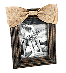 Distressed Black Wooden 5X7 Photo Frame with Burlap Bow #36366