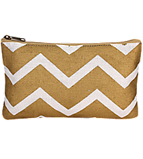 White and Gold Chevron Juco Cosmetic Bag #36446