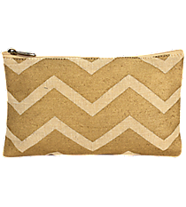 Natural and Gold Chevron Juco Cosmetic Bag #36447