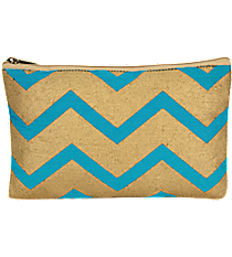 Turquoise and Gold Chevron Juco Cosmetic Bag #36448