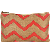 Pink and Gold Chevron Juco Cosmetic Bag #36450