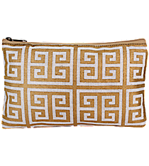 White and Gold Greek Key Juco Cosmetic Bag #36452