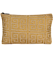 Natural and Gold Greek Key Juco Cosmetic Bag #36453