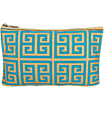 Turquoise and Gold Greek Key Juco Cosmetic Bag #36454