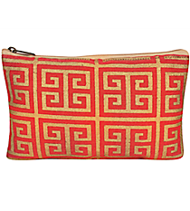 Pink and Gold Greek Key Juco Cosmetic Bag #36456