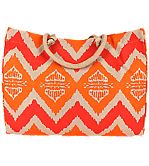 Coral and Orange Aztec Chevron Classic Juco Bag #36469