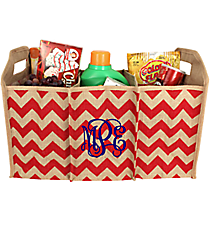 Red Chevron Jute Trunk Organizer #36547-RED