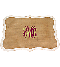 Frame Shaped Jute Placemat with White Trim #36555