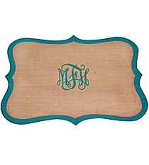 Frame Shaped Jute Placemat with Turquoise Trim #36557