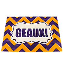 "Purple and Yellow Chevron ""Geaux"" Jute Placemat #36561"
