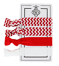 Set of 4 Red and White Team Spirit Hair Ties #36574