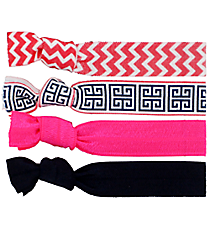 Set of 4 Hot Pink Cape Cod Hair Ties #36576
