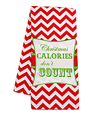 """Christmas Calories Don't Count"" Red Chevron Hand Towel #36585-CALORIES"