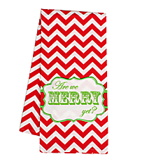 """Are We Merry Yet?"" Red Chevron Hand Towel #36585-MERRY"