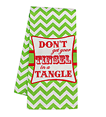 """Don't Get Your Tinsel in a Tangle"" Green Chevron Hand Towel #36585-TINSEL"