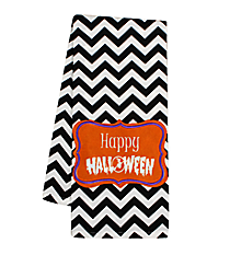 """Happy Halloween"" Black Chevron Hand Towel #36587-HALLOWEEN"