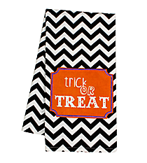 """Trick or Treat"" Black Chevron Hand Towel #36587-TREAT"