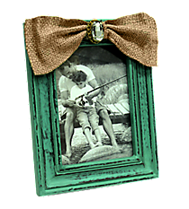 Distressed Turquoise Wooden 5X7 Photo Frame with Crystal Accented Burlap Bow #36615