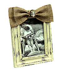 Distressed Cream Wooden 5X7 Photo Frame with Crystal Accented Burlap Bow #36616