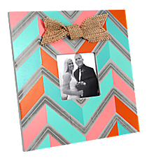 Multi Chevron Wooden 3X3 Photo Frame with Burlap Bow #36659