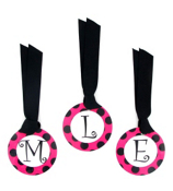 Hot Pink with Black Polka Dot Initial All Occasion Bag Tag - Choose Your Initial