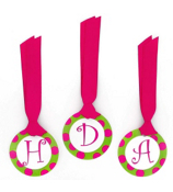 Green with Hot Pink Polka Dot Initial All Occasion Bag Tag - Choose Your Initial