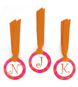 Hot Pink with Orange Polka Dot Initial All Occasion Bag Tag - Choose Your Initial