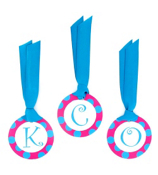 Hot Pink with Turquoise Polka Dot Initial All Occasion Bag Tag - Choose Your Initial