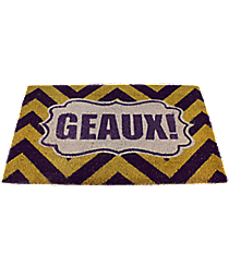 """Purple and Yellow Chevron """"Geaux"""" Door Mat #36772"""