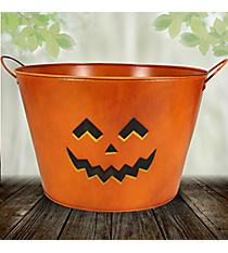 """12"""" Jack-O'-Lantern Large Tin Bucket #36806-ORANGE"""
