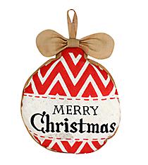 Burlap Red and White Chevron Ornament Door Hanger #36824
