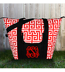 Red and White Greek Key Convertible Cooler Bag #36896