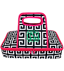 Navy and White Greek Key with Hot Pink Trim Casserole Tote #36903