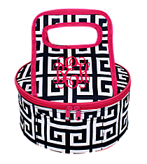 Navy and White Greek Key with Hot Pink Trim Round Casserole Tote #36908