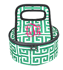 Sea Green and White Greek Key with Gray Trim Round Casserole Tote #36909