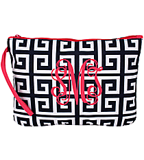 Navy and White Greek Key Bikini Bag with Hot Pink Trim #36912