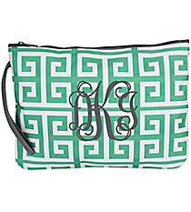 Sea Green and White Greek Key Bikini Bag with Gray Trim #36913