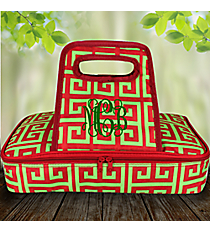 Red and Green Greek Key with Red Trim Casserole Tote #36914