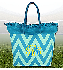 Water and Mint Chevron Fringe Jute Tote #36927