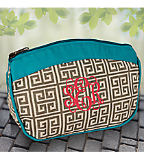 Turquoise and Gray Greek Key Cosmetic Bag #36929