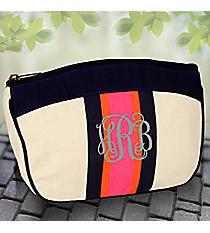 Navy, Orange, and Pink Preppy Stripe Cosmetic Bag #36930